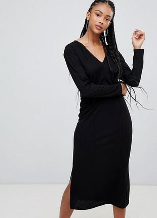 Bershka женское черное длинное платье с разрезом на завязке