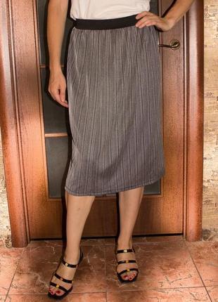 Триикотажная юбка миди с люрексом на резинке