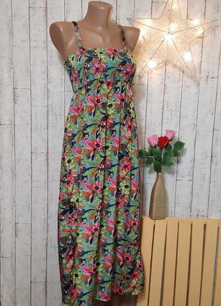 Яркий сарафан длинное платье миди тропическй цветочный принт рост 134 см 8 - 9 - 10 лет