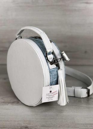 Круглая сумка белый с голубым рептилия круглый клатч5 фото