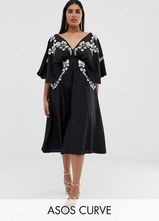 Asos  plus size розкішна чорна вишита сукня