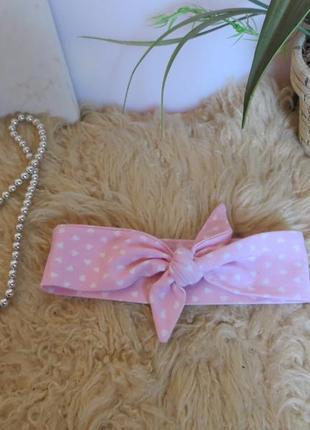 Повязка  на голову солоха, нежный розовый цвет с белыми сердечками.3 фото