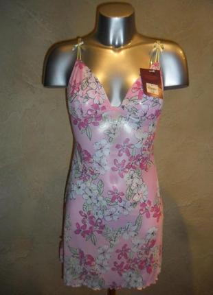 Бирка яркая сексуальная розовая ночнушка пеньюар сарафанчик  s-m 14