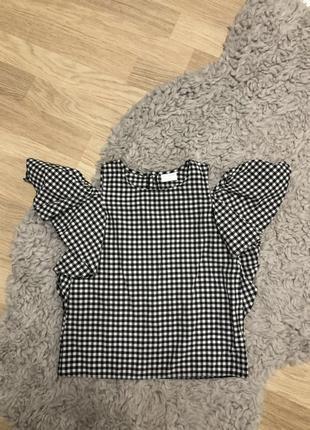 Стильная блузка черно белая клетка f&f на 4-5 лет, новая!