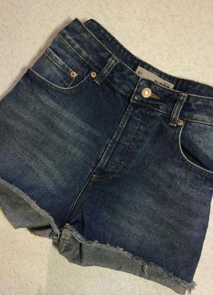 Шорты джинсовые с высокой посадкой topshop размер м ( 28)
