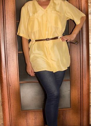 Шелковая блузка рубашка с карманами