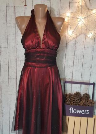 Очень красивое вечернее праздничное платье миди  с мерцающими блестками р. s - м