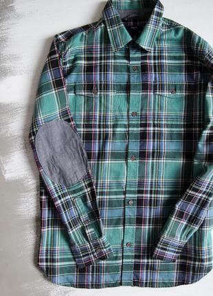 Рубашка в клетку с заплатками от gap