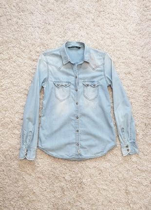 Брендовая трендовая джинсовая рубашка zara | 100% оригинал фирменная