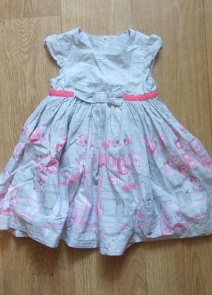 Платье 18-24 мес, 92 см, mothercare, хлопок