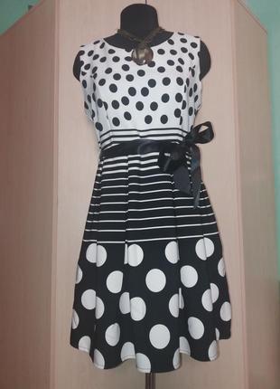 Платье комбинированное в горох 46рр италия