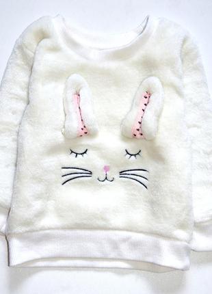 Primark. белый пушистый свитер с зайкой. 9-12 мес. рост 80 см. коллекция 2018