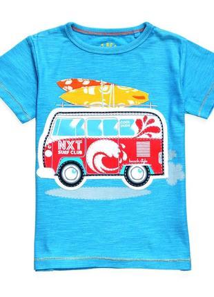 Next. голубая футболка с апликацией автобуса. 3-4 года. рост 104 см