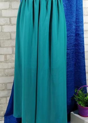 Ярко-берюзовая длинная юбка