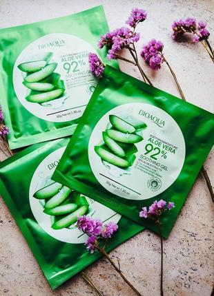 Увлажняющая тканевая маска для лица bioaqua с 92% экстрактом алоэ вера 30 мл