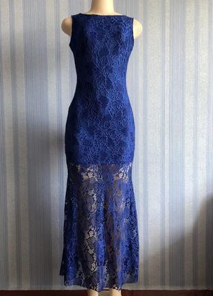Шикарное синее вечернее длинное платье с открытой спиной
