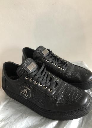 Чёрные кожаные кеды мокасины туфли philipp plein
