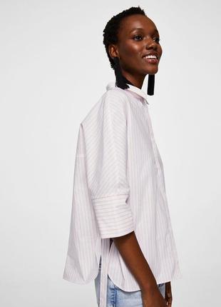 Стильная хлопковая оверсайз рубашка/блузка/топ в полоску/на завязках