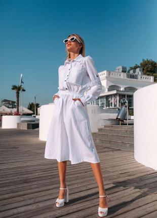 Распродажа! легкое и нежное платье рубашка белое