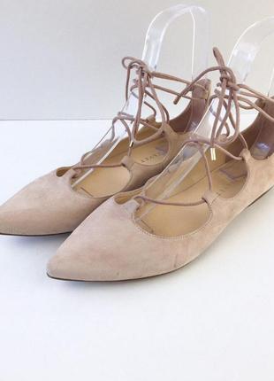 Замшевые шнурованые балетки испания