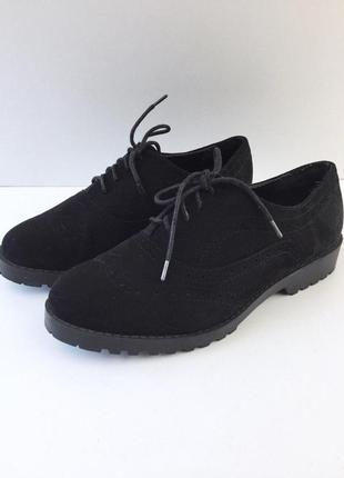 Стильные туфли броги под замшу на шнуровке