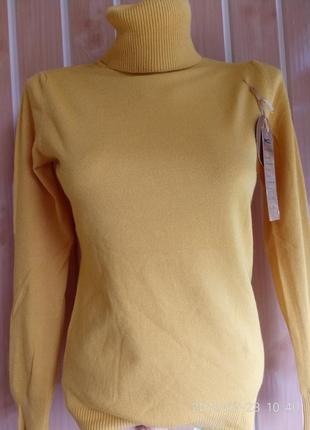 Гольф под горло свитер кашемир шерсть милано горчица цвета8 фото