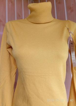 Гольф под горло свитер кашемир шерсть милано горчица цвета7 фото