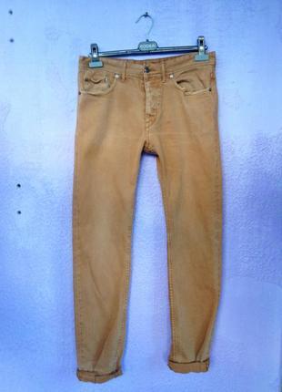 Коричневые бойфренд джинсы h&m