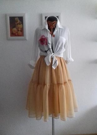 Очень стильная нарядная юбочка из шифон-органзы1 фото