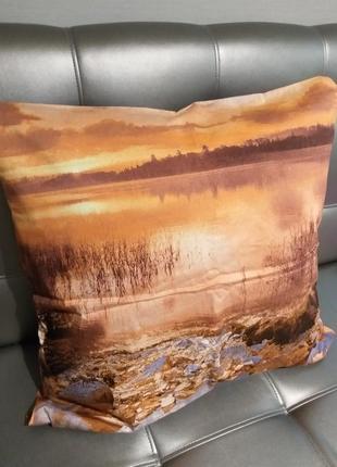 Наволочка коричневая 50×50 см ткань сатин люкс хлопок постель