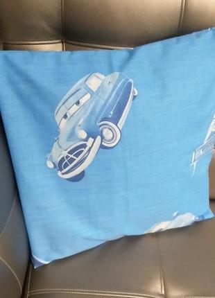 Наволочка детская голубая тачки cars размер 40×40 см хлопок ткань поплин постель мальчику