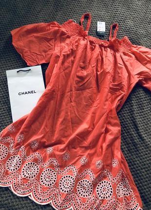 Очень нежное коралловое хлопковое платье с вышивкой и перфорацией можно для беременных5 фото