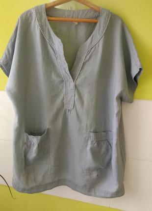 Платье рубашка туника свободного кроя оверсайз лён от monsoon