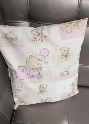 Наволочка детская розовая 40×40 см мишки хлопок постель девочке