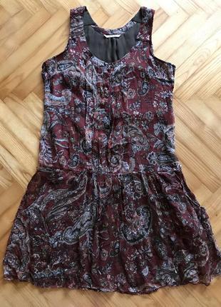 Massimo dutti, шелковое платье в принт пейсли! р.-36
