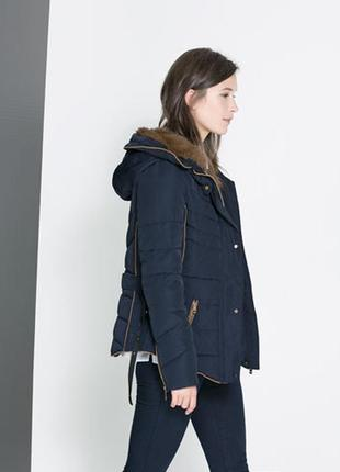 Шикарный пуховик куртка zara размер s-xs оригинал
