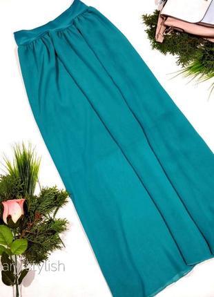 Шифоновая юбка макси на короткой подкладке