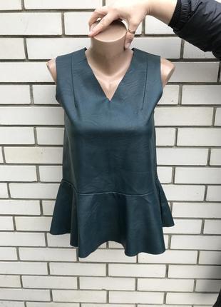 Кожаная(кож.зам) блузка с баской,воланом по низу, h&m