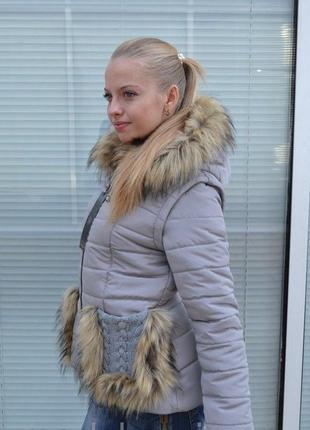 Очень стильная куртка -желетка 2 в 1 ..с вязкой и мехом