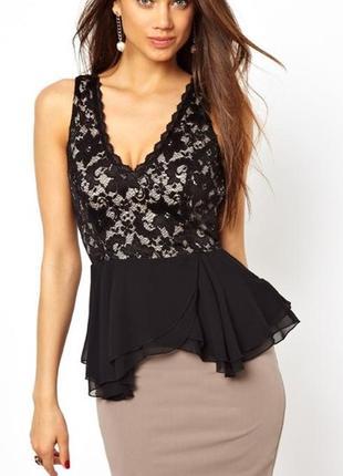 Брендовая черная блуза топ кружево lipsy london румыния этикетка