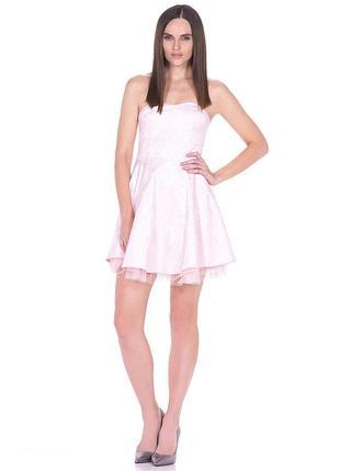 Брендовое розовое нарядное короткое мини платье бюстье house коттон этикетка