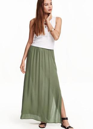 Легкая длинная макси юбка хаки  акция! 1+1=3 на всё🎁