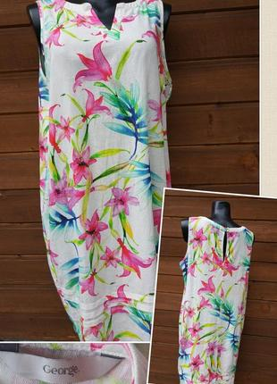 Фирменное стильное качественное натуральное платье сарафан из льна.