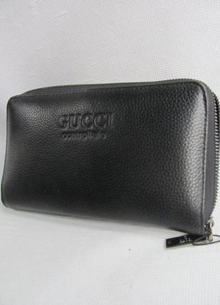 Мужской кожаный кошелек клатч натуральная кожа качественный черный портмоне сумка