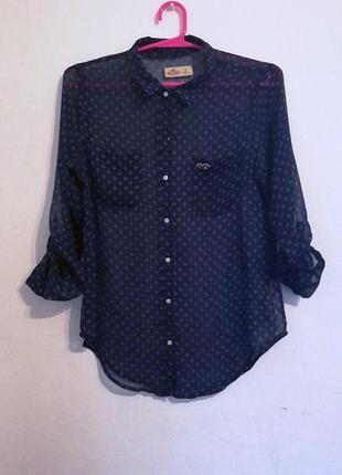 1+1=3  прозрачная синяя рубашка hollister