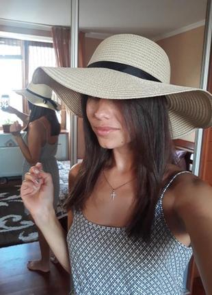 Летняя шляпа женская пляжная соломенная цвет бежевый