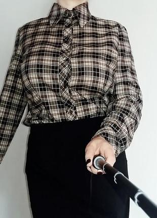 Рубашка в клетку из тонкого хлопка 16-18/52-54 размер.