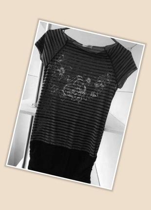 Удлиненная футболка # туника в полоску england