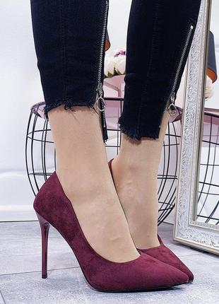 Новые шикарные женские туфли лодочки цвета марсала
