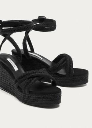 Кожаные сандалии, босоножки на платформе massimo dutti